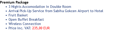 Premium Package 3 Nights Accomodation in Double Room